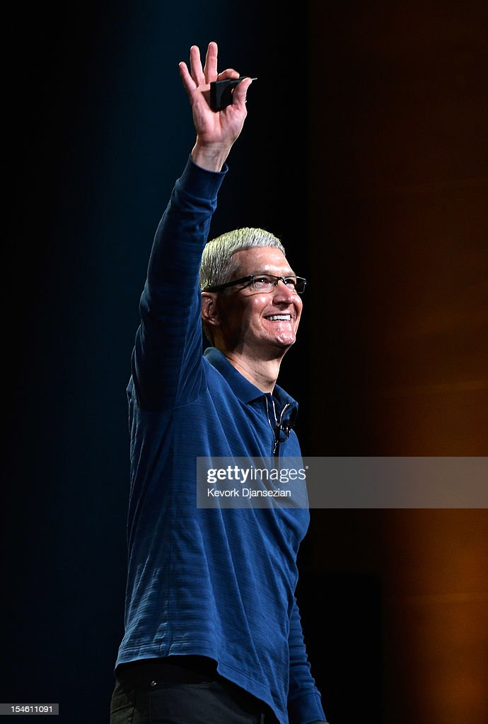 Apple CEO Tim Cook speaks during an Apple special event at the historic California Theater on October 23, 2012 in San Jose, California. Apple is expected to introduce a smaller, less expensive version of the iPad.