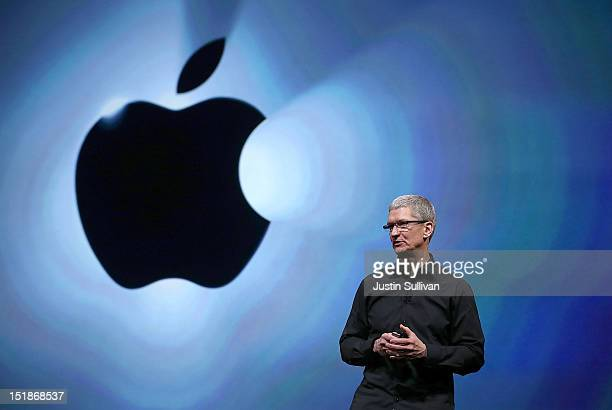 Apple CEO Tim Cook speaks during an Apple special event at the Yerba Buena Center for the Arts on September 12 2012 in San Francisco California Apple...