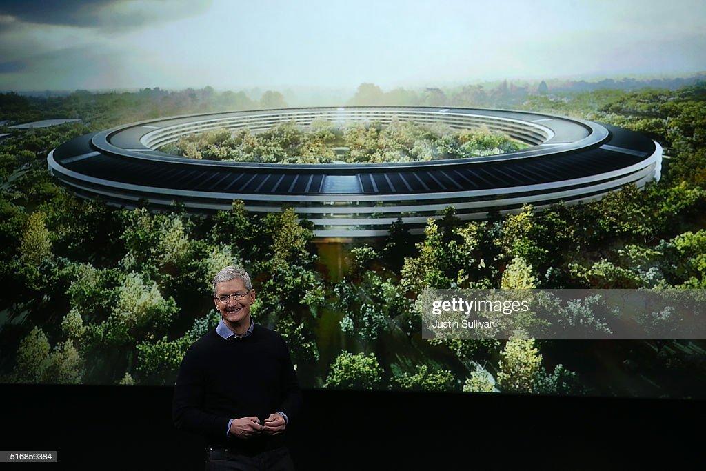 Apple CEO Tim Cook speaks during an Apple special event on March 21 2016 in Cupertino California Apple CEO TIm Cook announced the iPhone SE and a 97'...