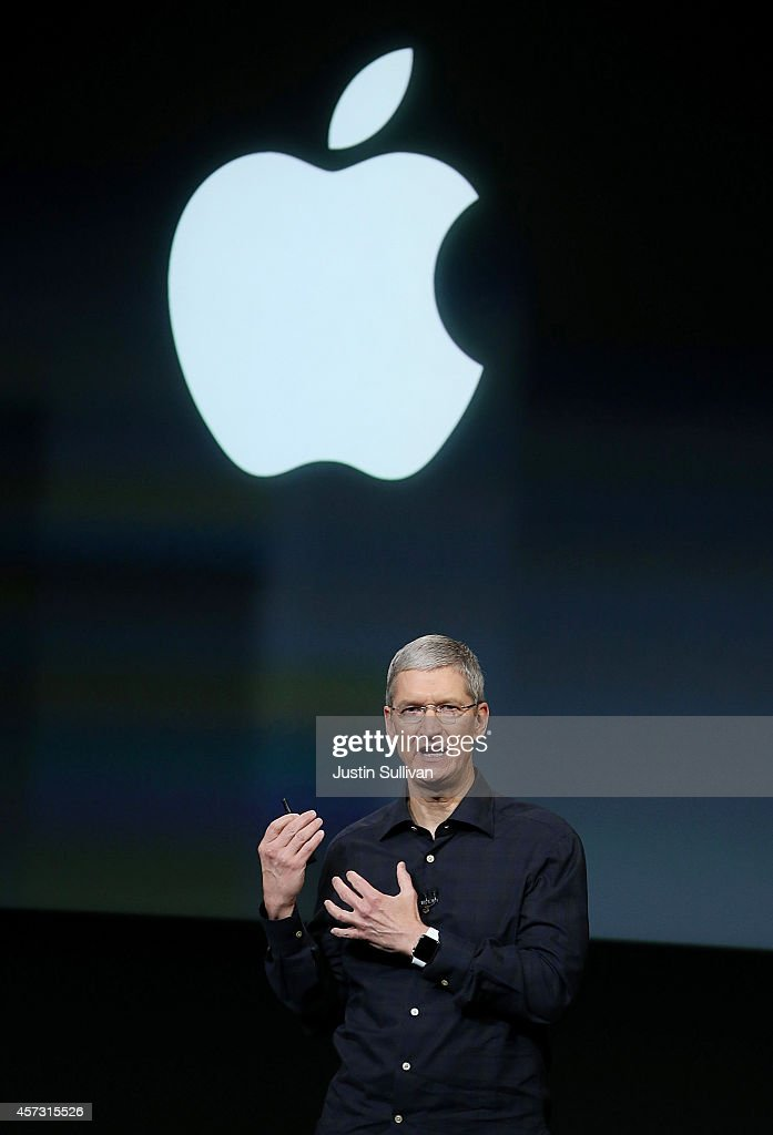 Apple CEO Tim Cook speaks during an Apple special event on October 16 2014 in Cupertino California Apple unveiled the new iPad Air 2 iPad mini 3...