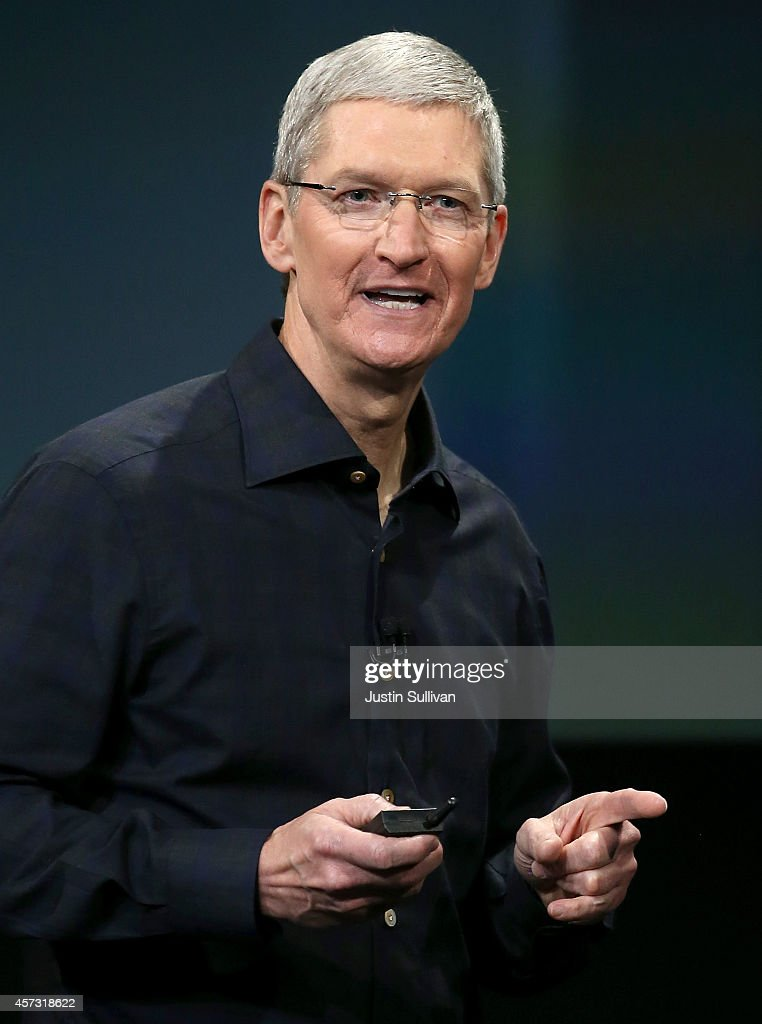 Apple CEO Tim Cook speaks during an Apple special event on October 16, 2014 in Cupertino, California. Apple unveiled the new iPad Air 2 and iPad mini 3 tablets and the iMac with 5K Retina display.