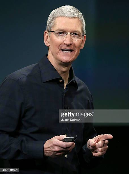 Apple CEO Tim Cook speaks during an Apple special event on October 16 2014 in Cupertino California Apple unveiled the new iPad Air 2 and iPad mini 3...