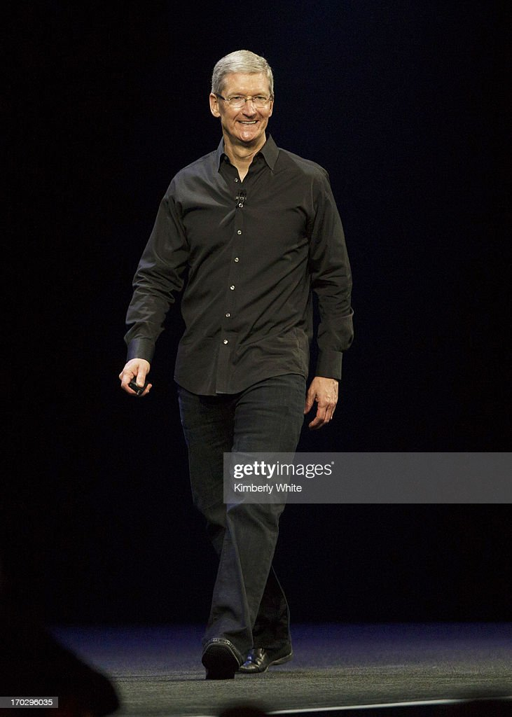Apple CEO Tim Cook speaks during the keynote address during the 2013 Apple Apple Worldwide Developers Conference at the Moscone Center on June 10...