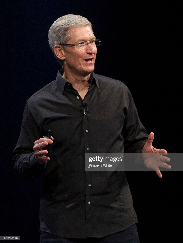 Apple CEO Tim Cook speaks during the keynote address during the 2013 Apple Apple Worldwide Developers Conference at the Moscone Center on June 10, 2013 in San Francisco, California. Apple introduced a new mobile operatng system iOS 7, hardware upgrades and a new operating system OS X Mavericks during the keynote qaddress. The annual developer conference runs through June 14.
