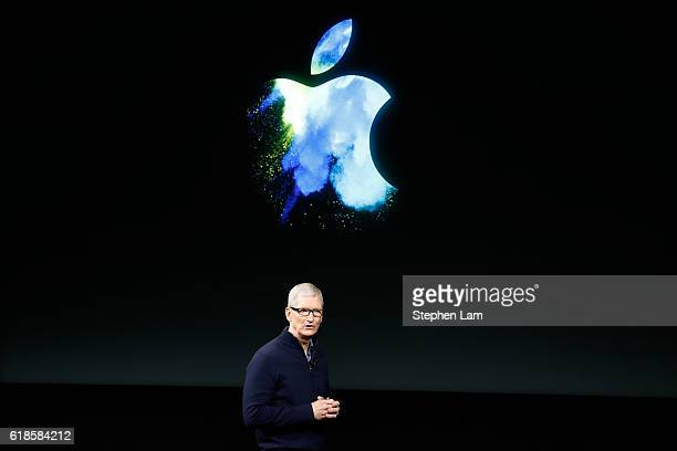 Apple CEO Tim Cook speaks on stage during an Apple product launch event on October 27 2016 in Cupertino California Apple Inc is expected to unveil...