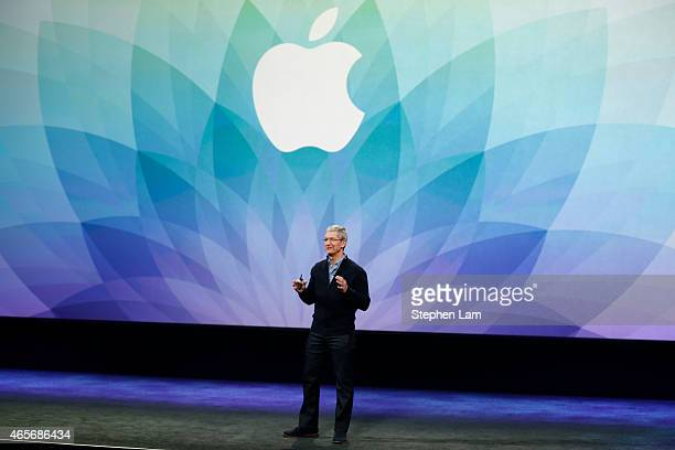 Apple CEO Tim Cook speaks on stage during an Apple special event at the Yerba Buena Center for the Arts on March 9 2015 in San Francisco California...