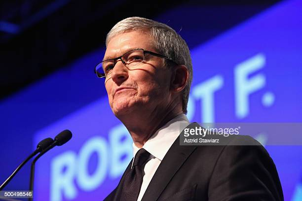 Apple CEO Tim Cook speaks onstage as Robert F Kennedy Human Rights hosts The 2015 Ripple Of Hope Awards honoring Congressman John Lewis Apple CEO Tim...