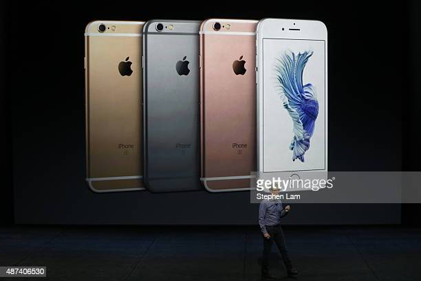 Apple CEO Tim Cook speaks speaks about the new iPhone 6s and 6s Plus during a Special Event at Bill Graham Civic Auditorium September 9 2015 in San...