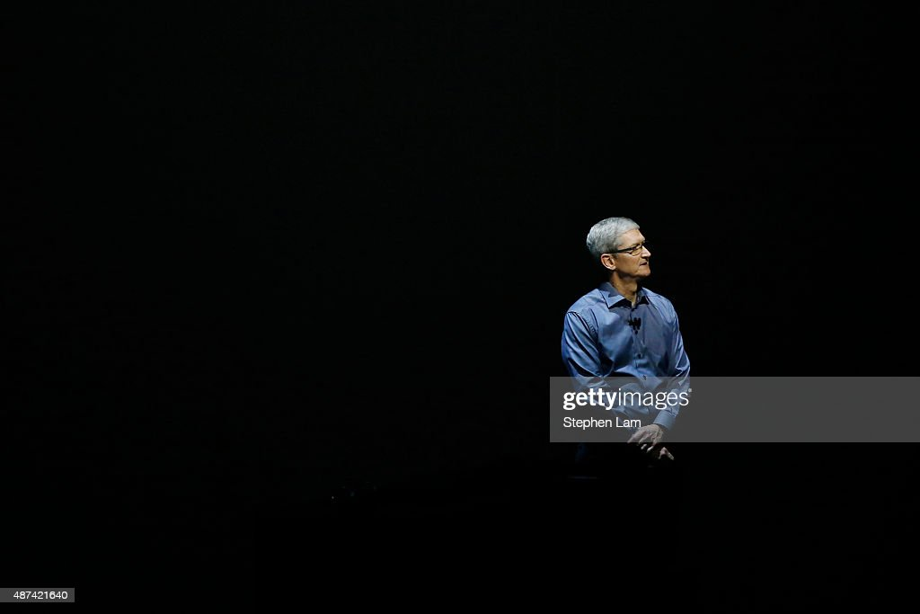 Apple CEO <a gi-track='captionPersonalityLinkClicked' href=/galleries/search?phrase=Tim+Cook+-+Director+ejecutivo+de+empresa&family=editorial&specificpeople=8084206 ng-click='$event.stopPropagation()'>Tim Cook</a> stands on stage during a Special Event at Bill Graham Civic Auditorium September 9, 2015 in San Francisco, California. Apple Inc. unveiled latest iterations of its smart phone, forecasted to be the 6S and 6S Plus and announced an update to its Apple TV set-top box.