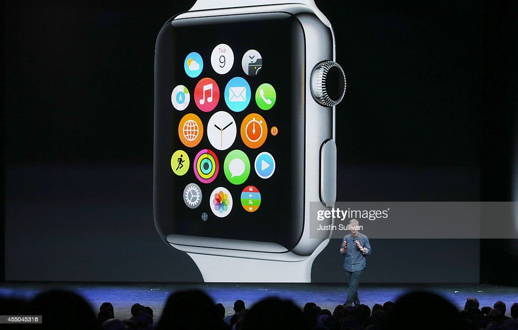 Apple CEO Tim Cook talks about the Apple Watch during an Apple special event at the Flint Center for the Performing Arts on September 9, 2014 in Cupertino, California. Apple unveiled the Apple Watch wearable tech and two new iPhones, the iPhone 6 and iPhone 6 Plus.