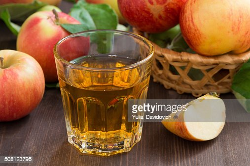 apple cider or juice in a glass : Stock Photo