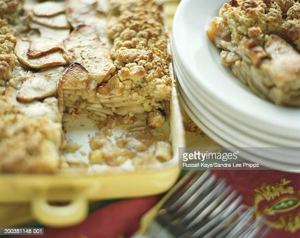 Apple cobbler in pan