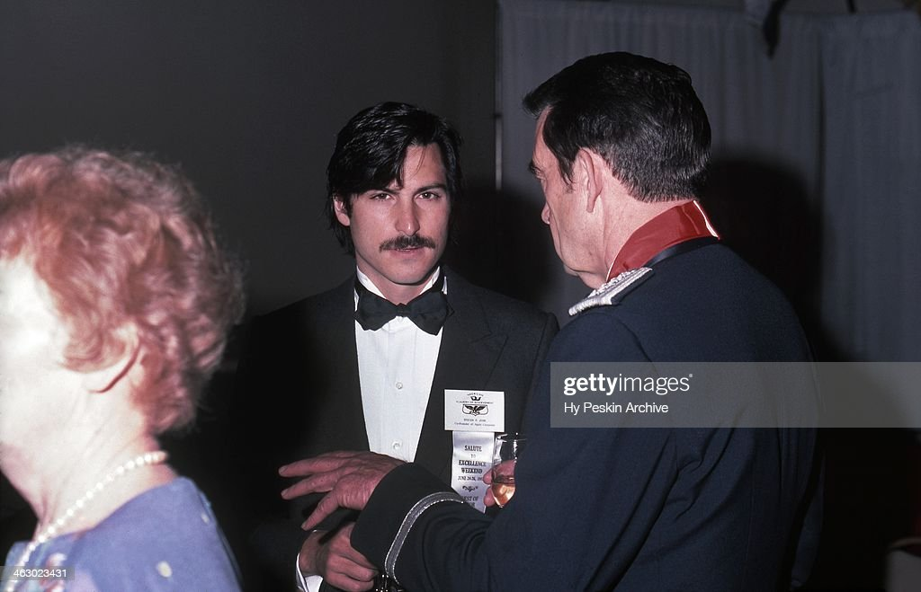 Apple co-founder Steve Jobs chats with a general at the Academy of Achievement Golden Plate Awards on June 24, 1982 in New Orleans, Louisiana.