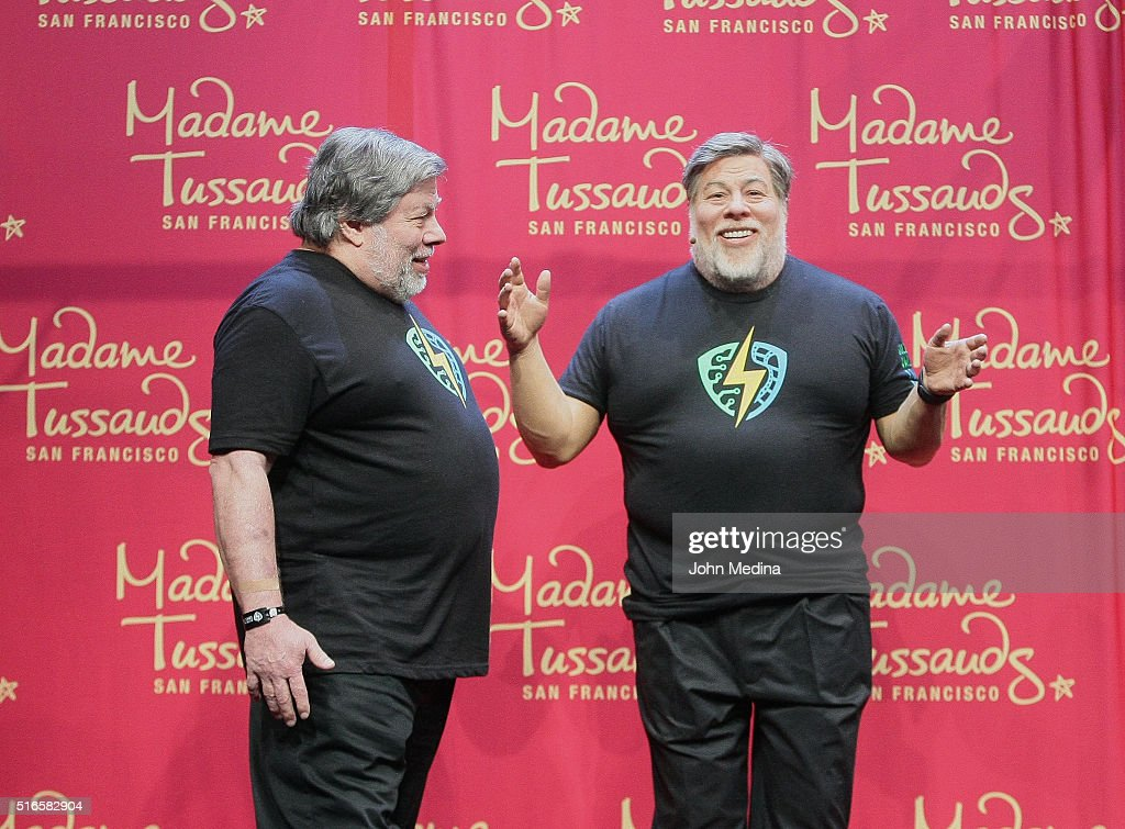 Apple co-founder Steve Wozniak admires a wax sculpture of himself during The Silicon Valley Comic Con 2016 at San Jose Convention Center on March 19, 2016 in San Jose, California.