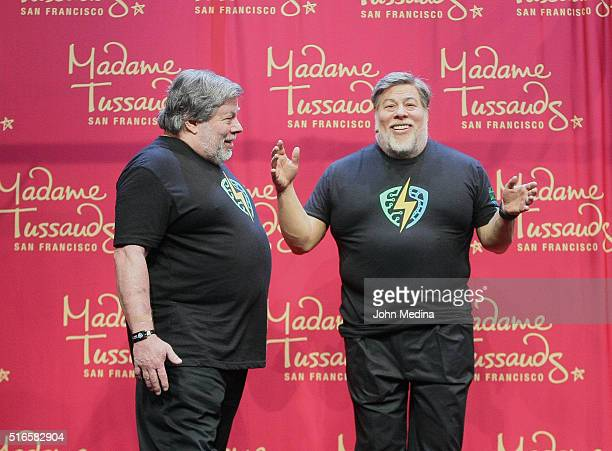 Apple cofounder Steve Wozniak admires a wax sculpture of himself during The Silicon Valley Comic Con 2016 at San Jose Convention Center on March 19...