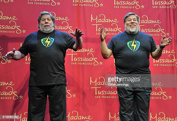 Apple CoFounder Steve Wozniak poses next to his wax figure at the Madame Tussauds unveiling at the 1st Silicon Valley Comic Con at San Jose...