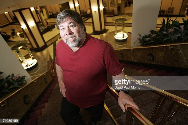 Apple cofounder Steve Wozniak poses on a staircase before he speaks to the San Francisco Chamber of Commerce on September 25 2006 at the Marriott...