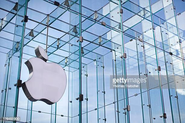 Apple company logo at an Apple Store