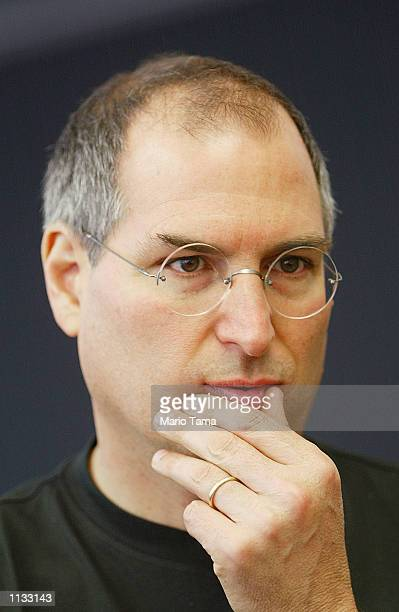 Apple Computer CEO Steve Jobs stands in the new Apple store July 17 2002 in the SoHo neighborhood of New York City The store will celebrate its grand...