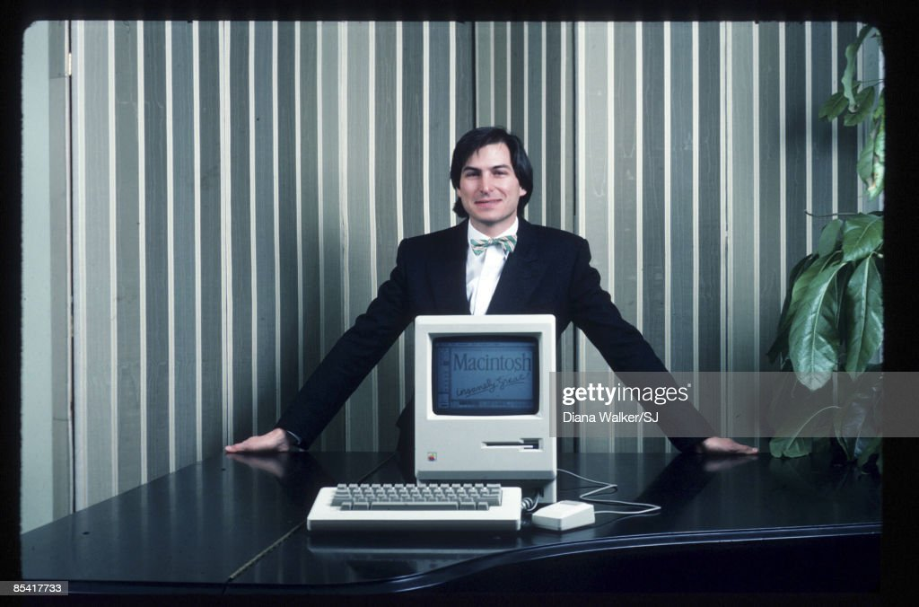 Apple Computer founder Steve Jobs with a Macintosh computer in New York City in 1984. IMAGE