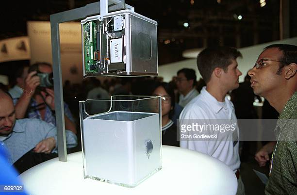 Apple Computer Inc unveils the company's new Power Mac G4 Cube at the Jacob Javits Center Macworld Expo July 19 2000 in New York City
