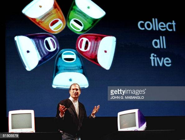 Apple Computer interim CEO Steve Jobs introduces new colors to the popular iMacs during his keynote address at the MacWorld Expo 05 January in San...