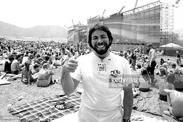 Apple Computers Cofounder Steve 'the Woz' Wozniak gives a 'thumbsup' during the multiday US FESTIVAL May 28 1983 at Glen Helen Regional Park in...