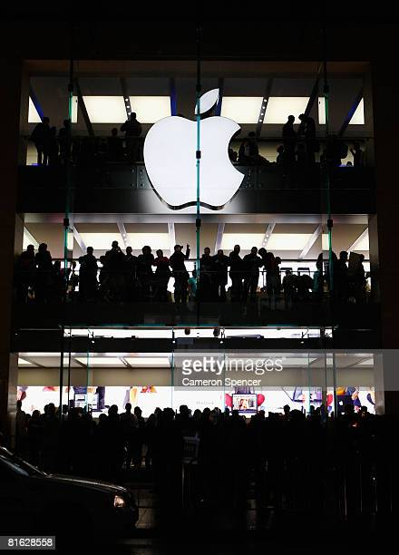 Apple customers look outside from various levels during the official opening of the new Sydney Apple Store on June 19 2008 in Sydney Australia The...