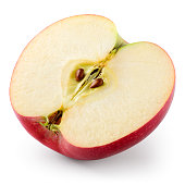 Apple. Half isolated on white. With clipping path.