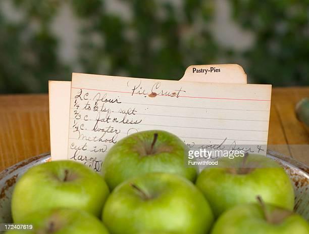 Vacanza di torta di mele ricetta di cucinare cibo & ingredienti a mano Scheda di schedario