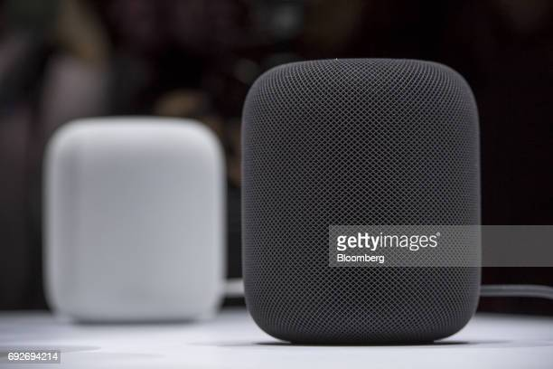 Apple Inc HomePod speakers sit on display during the Apple Worldwide Developers Conference in San Jose California US on Monday June 5 2017 The...
