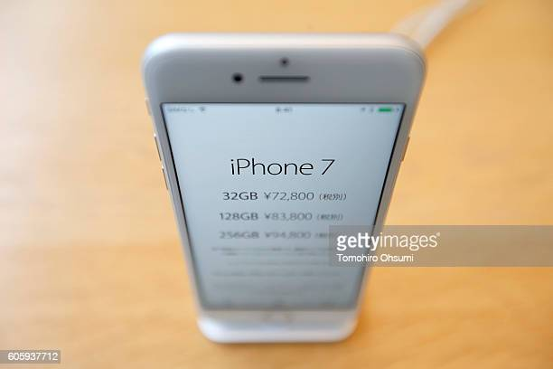 Apple Inc's iPhone 7 is displayed at the company's Omotesando store on September 16 2016 in Tokyo Japan Apple's iPhone 7 and Apple Watch Series 2 go...