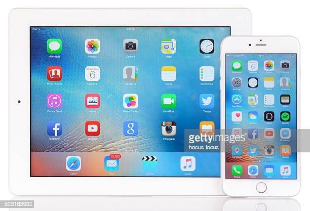 Apple iPad 3 and iPhone 6 plus on white background