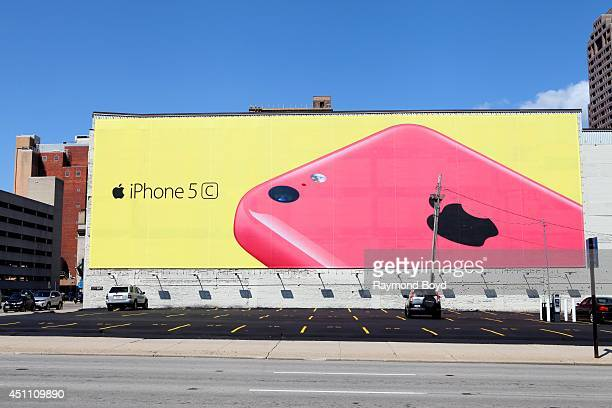 Apple iPhone 5 billboard in Downtown Columbus on May 18 2014 in Columbus Ohio