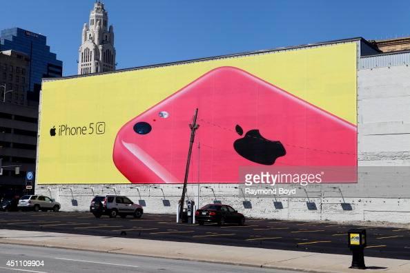 Apple iPhone 5 billboard in Downtown Columbus on May 18 2014 in Columbus Ohio