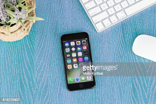 Apple iPhone 7 Black on the table : Stock Photo