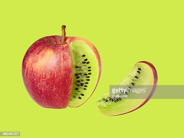 Apple kiwi on green