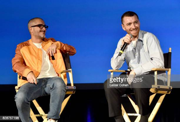 Apple Music's Beats 1's Zane Lowe and recording artist Sam Smith speak onstage during Capitol Music Group's Premiere Of New Music And Projects For...