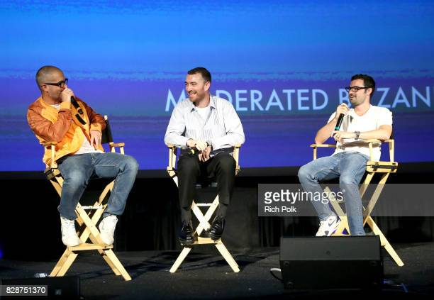Apple Music's Beats 1's Zane Lowe recording artist Sam Smith and singersongwriter Jimmy Napes speak onstage during Capitol Music Group's Premiere Of...