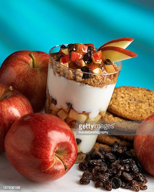 Apple, oatmeal cookie and yogurt parfait