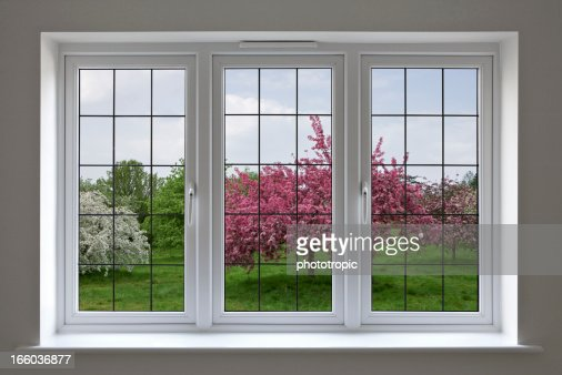 apple orchard through leaded glass window