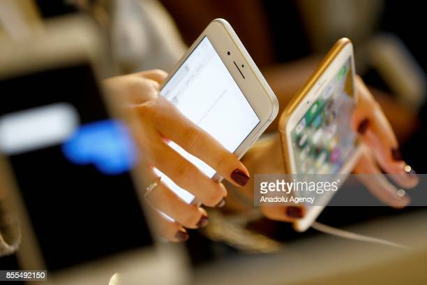 Apple phones are seen after Apple launched iPhone 8 and 8 plus at the GUM department store in Moscow Russia on September 29 2017