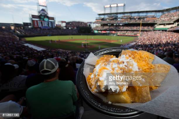DENVER CO Apple pie nachos from Extreme Dog a look at ballpark food at the Rockies' Coors field on July 3 2017 in Denver Colorado