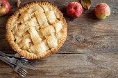 Apple Pie Dessert. Homemade American Pie from Organic Autumn Apples.
