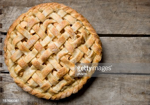 Apple Pie With Lattice Crust on a Rustic Wooden Crate.