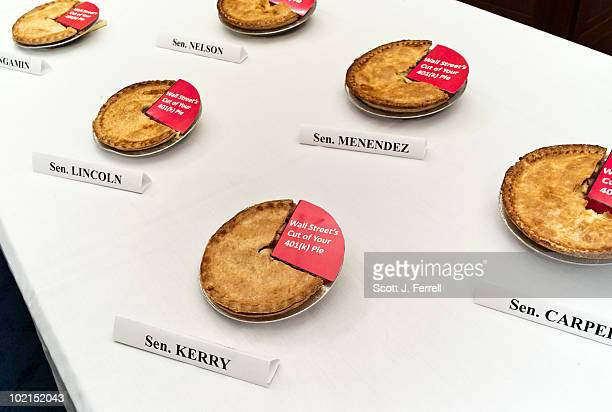 Apple pies sit on a table before a news conference with Rep George Miller DCalif on Senate Finance Chairman Max Baucus' removal from the 'American...