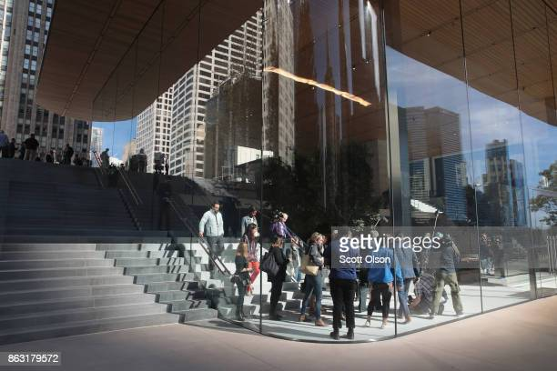 Apple previews it newest store located on Michigan Avenue along the Chicago River on October 19 2017 in Chicago Illinois The glasssided store will...