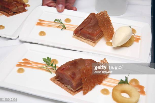 Apple queen tarte tatin is served during the Marc Forgione and Jorge Espinoza dinner presented by Ferguson Bath Kitchen Lighting Gallery at Scarpetta...