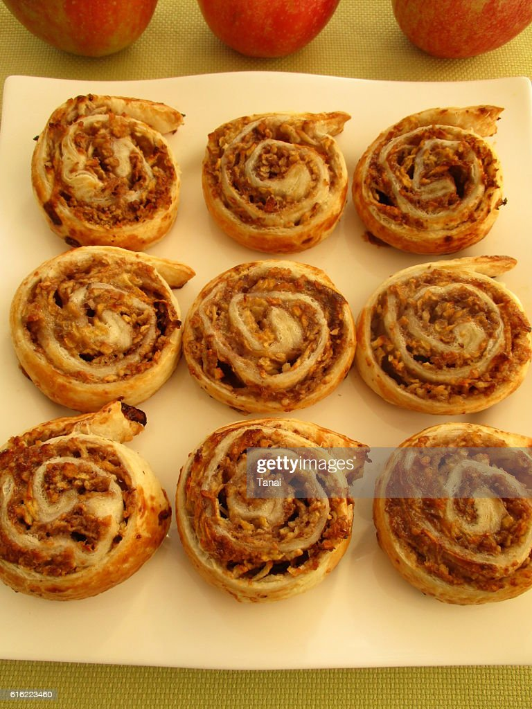 Apple rolls on square plate : Stock Photo