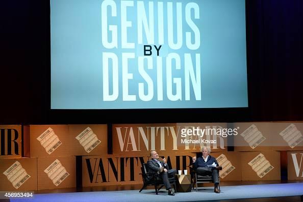 Apple Senior Vice President of Design Jonathan Ive and Vanity Fair EditorinChief Graydon Carter speak onstage during 'Genius by Design' at the Vanity...
